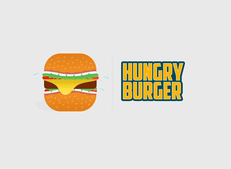 #Hungry Burger #HaveItAnytime style simple branding text colors vector graphics illsutration logo branding burger hungry