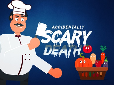 Accidentally Scary Death poster death accidentally scary angry knife illustration title design concept vegetables character