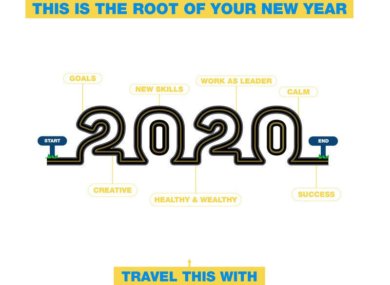 HAPPY NEW YEAR TO DRIBBBLE FAMILY success calm healthy  wealthy creative work ad leader new skills goals points thought travel new root 2020 new year