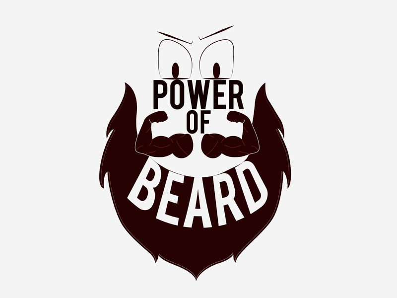 Power of Beard illustration style effect vector look text logo face power