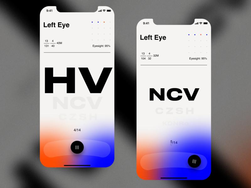 Eyesight Test App colors media center eyesight eye medical mobile gradient ios app ux simple clean ui