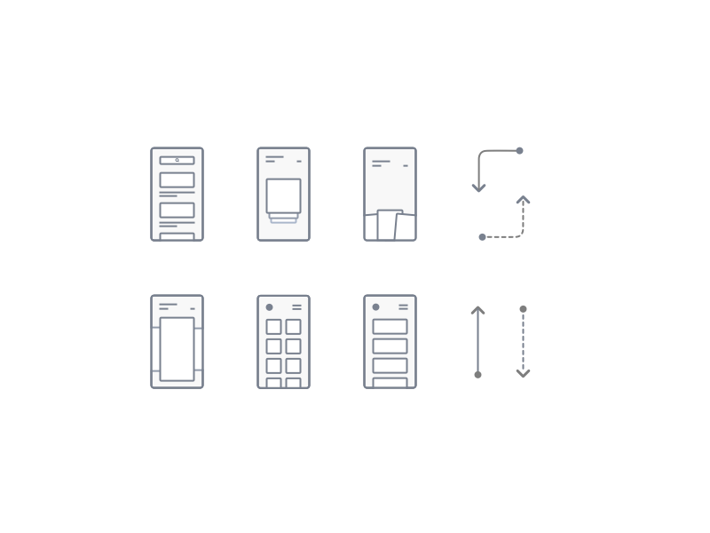 Flow structure icons android ios iphone phone animation flow design wireframe visual ux