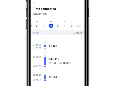 Worklog ui track timeline stuart packages ongoing delivery deliver mobile calendar ios