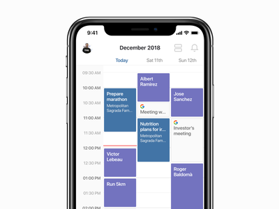 Schedule personal trainer exercise fitness meet-up schedule event calendar design ios ui