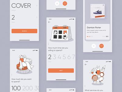 Freelance Service Search Mobile App design freelance zajno mobile app illustration concept interface