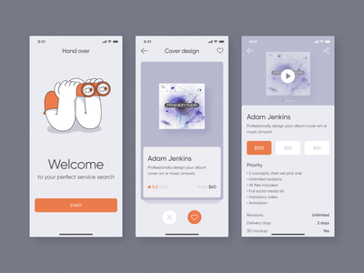 Freelance Service Search Mobile App product interface freelance illustration app mobile zajno