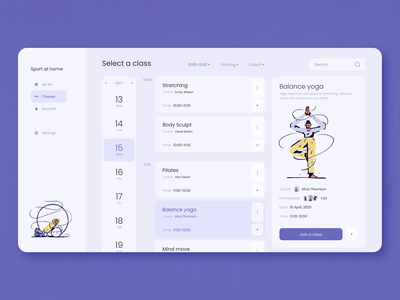 Sport at Home Web App illustration concept online sports interface app web zajno