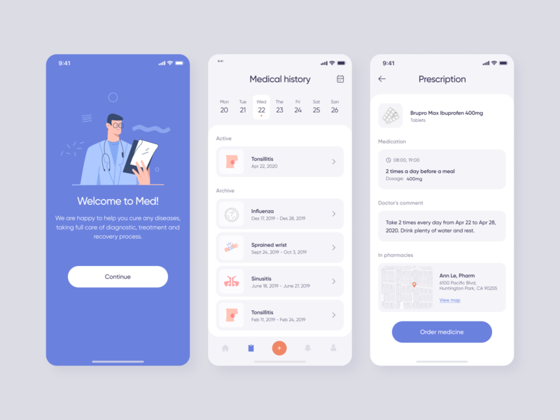 Health Care Mobile App for Medical Professionals and Patients illustration zajno product mobile design app interface