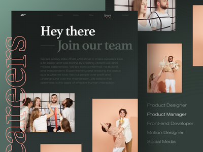 Zajno Website Careers Page web unconventional layout fashionable progressive photography product design studio business brutal texture bold typography contrast dark careers page web design website zajno