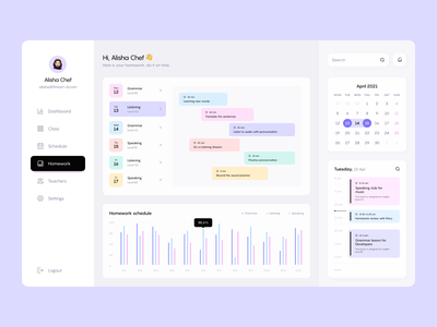Language School Dashboard fireart studio dashboad minimal app ux ui web design interface