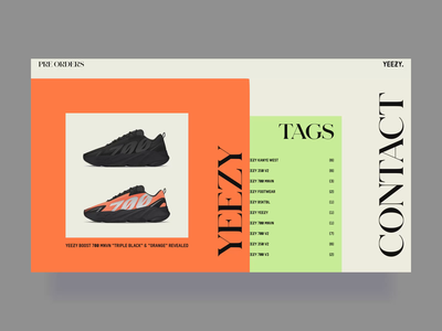 Kanye West & Adidas Promo Website kanye west adidas sneaker sneakers smooth transition hover effect animation layout business simple promo website vector flat clean branding product typography fashion ui ux web design zajno