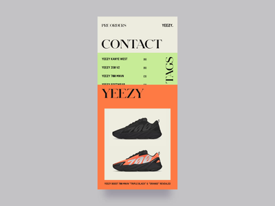 Yeezy Mafia Promo Mobile Website Design interface mobile responsive adidas sneaker sneakers smooth transition hover effect animation layout simple promo website vector flat clean branding typography fashion ui ux design mobile zajno