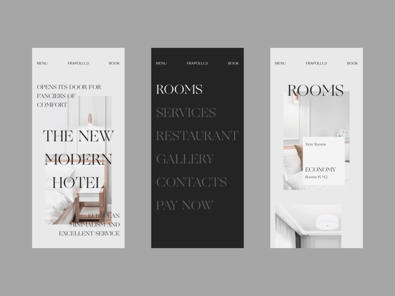 Hotel Mobile Website Design Experiment concept mobile responsive smooth transition hover effect layout minimal interface hotel business simple promo website vector flat clean branding product typography fashion ui ux design mobile zajno