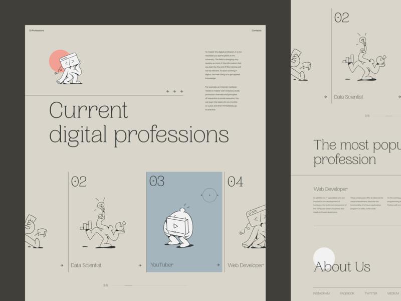 Digital Creative Jobs Educational Platform typography character website creative illustration design web zajno