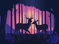 Deer in the dusk