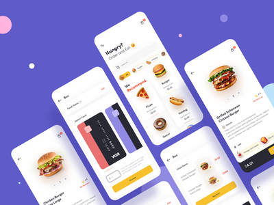 Food Application dribbble profile cart payment app designs onboard listing menu food onboarding dashboard button ux typography icon minimal card ui design