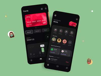Payment Application tab home profile payment credit theme mode dark application app menu onboarding dashboard button ux icon minimal card ui design