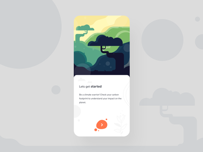 Onboarding Screen art digital card button orange tree nature minimal clean illustration mobile app screen onboarding onboard icon typography ux design ui