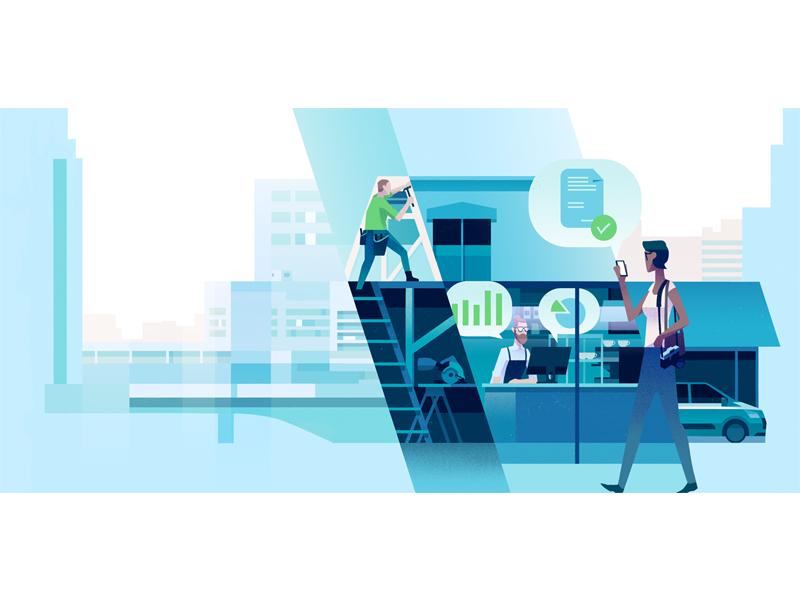 Debitoor Website header commerce green blue business finance