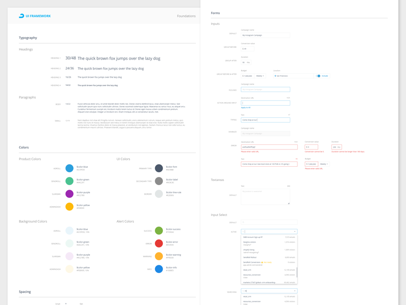AdRoll UI Framework brand elements toolkit style guide palette interface guidelines form design system color button atomic design