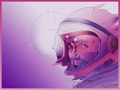 RIP Space Cowboy nasa america rip space astronaut portrait illustration john glenn