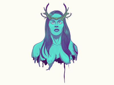 Wildling Illustration (CRITIQUE'S WANTED!) vector portrait queen antlers wip critique woman illustration