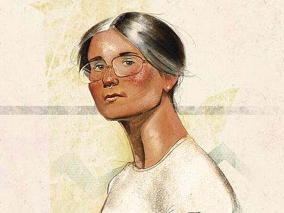 Vintage portrait illustration hipster girl vintage procreate illustration portrait