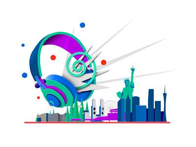 Noise-cancelling headphones tech city illustration walmart digital art paper illustration headphones
