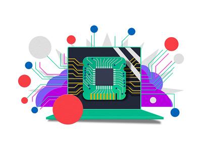 Laptop for Walmart tech paper illustration digital illustration illustration laptop walmart