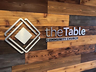 The Table Logo Wall signage wood table branding church logo