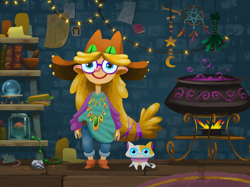 Daisy the witch and Lancelot the cat cauldron inventory room childrens illustration witchcraft girl magic storybook illustration game cat witch