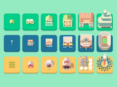 set of buildings for Matchy City game city vector flat pieces top down buildings game art