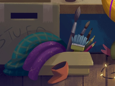 Stuff paintbrush boxes wip mess unpacking illustration