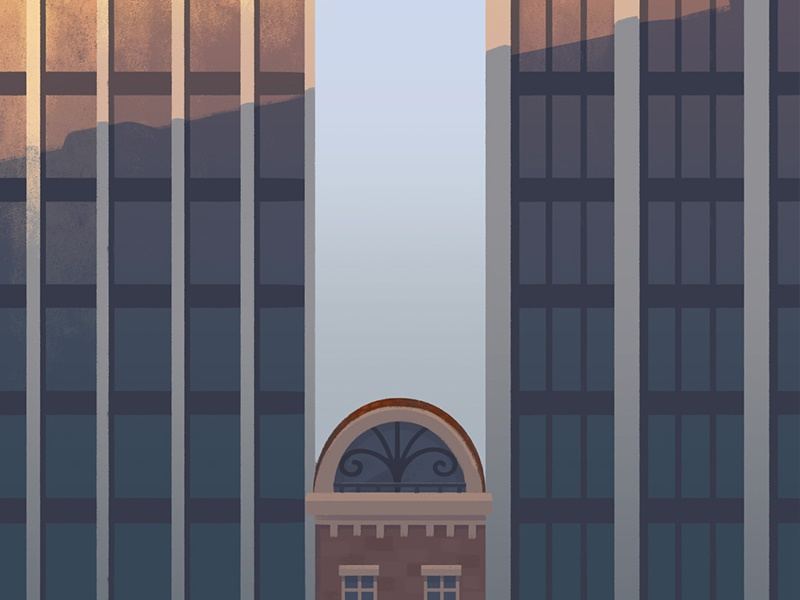 Daisy's attic roof highrise sky-scrapper brownstone illustration building house city attic home