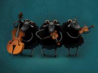 Three black lambs