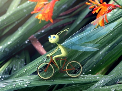 Bike ride illustration rain grass flowers wings macro tiny pixie fairy ride bicycle bike