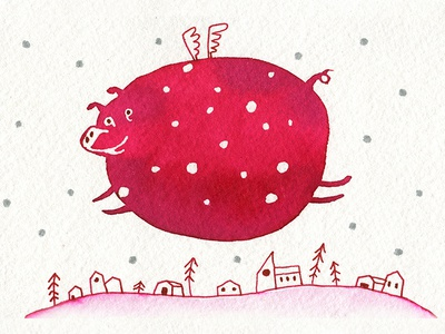 Pig fly card art polkadot pink new year card christmas new year stars snow doodle travel landscape house town fly pig watercolor cartoon illustration