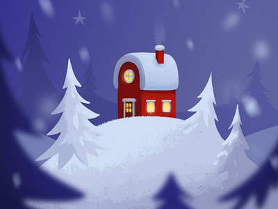 'Santa's puzzle cards' splashscreen lights hill home red chimney night tree cozy winter snow house santa claus christmas puzzler game art illustration