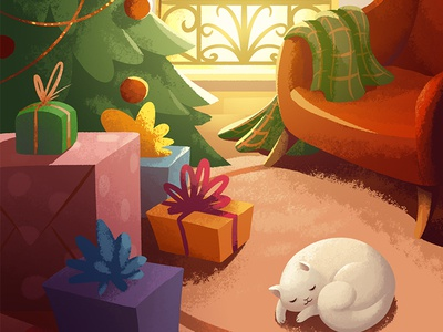 Game background plaid warm cozy carpet gifts christmas tree chair fireplace game illustration christmas cat