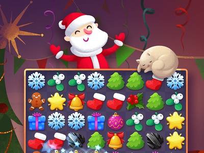Santa's Puzzle Cards coal gift snowflake gingerbread star bell tree cat santa match three puzzler game art