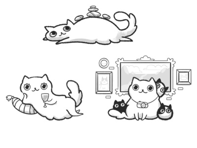 Cats sketches drawing children kids holiday vacation wine spa museum mascot character sketches kittens cat illustration