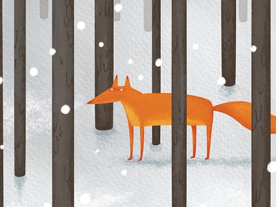 The fox in the snow children illustration nursery winter snow woods print poster illustration drawing fox