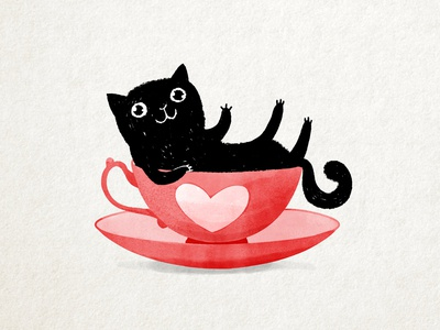 My cup of tea valentines day picture book cartoon character drawing ink cute children illustration valentine tea cup love heart pink black kitty cat