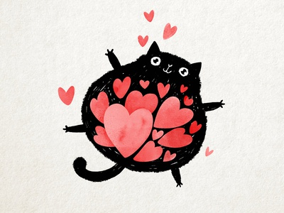 Full of love full flying floating fat card ink drawing cute children character cartoon illustration kitten love heart valentines day cat illustration valentine cat