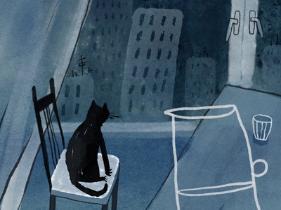 Boring night ink watercolor night city window drawing picture book cat illustration