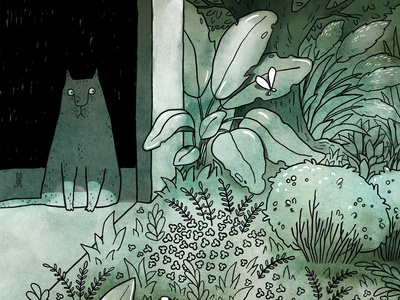 Escape plants ink picturebook garden green escape inside outside nature illustration drawing cat