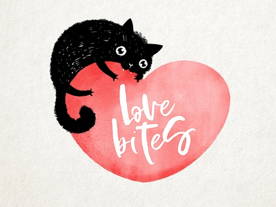 Valentine cat character cartoon cute red bites love black ink drawing illustration valentine cat