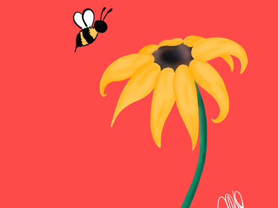 the flower and the bee bumblebee bee black eyed susan flower linea digital illustration digital art illustration