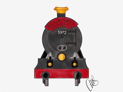 Hogwarts Express computer art illustration artist hand drawn art digital illustration digital art digital drawing ipad ipad pro linea sketch