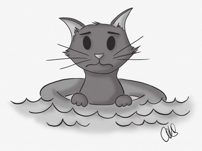 Float artist inktober ipad pro art linea sketch hand drawn ipad pro digital art illustration floating float water cat